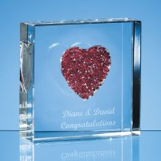 "3""x 3""x 1"" Crystal Heart paperweight"