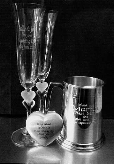 Sweetheart Flutes, Heart Mirror and Standard Lined Tankard